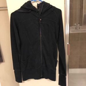 Women's black hooded Lulu Lemon zip up